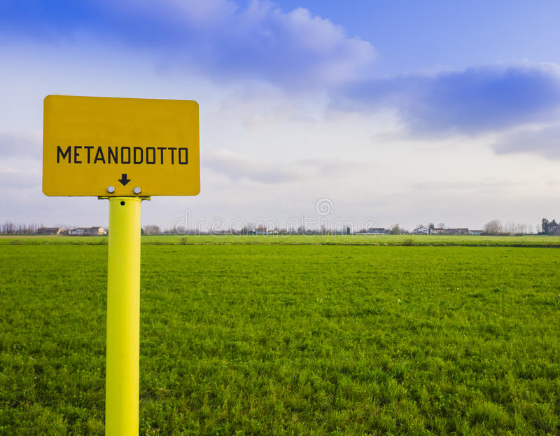 Signe naturel d'avertissement de gazoduc images stock