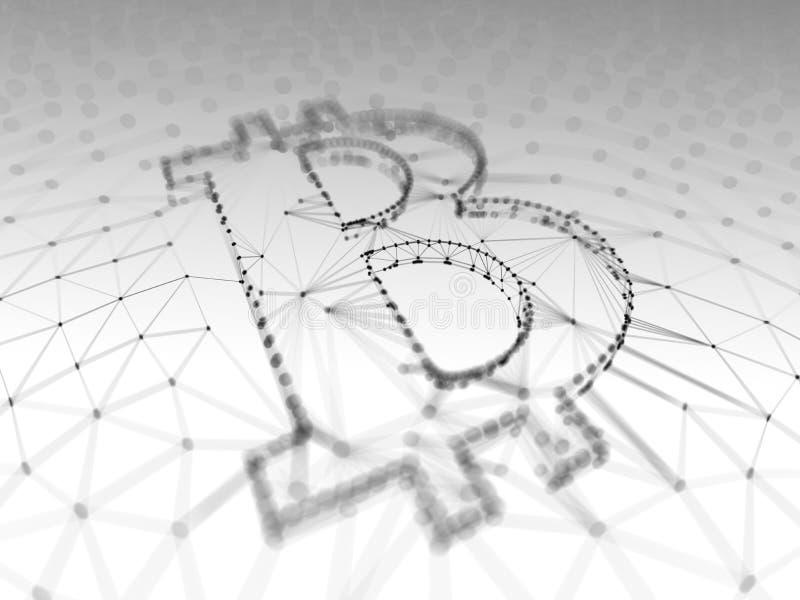 Signe noir et blanc abstrait de Bitcoin établi comme choix de transactions dans l'illustration 3d conceptuelle de Blockchain photos libres de droits