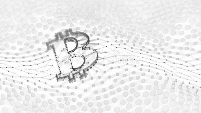 Signe noir et blanc abstrait de Bitcoin établi comme choix de transactions dans l'illustration 3d conceptuelle de Blockchain photo libre de droits