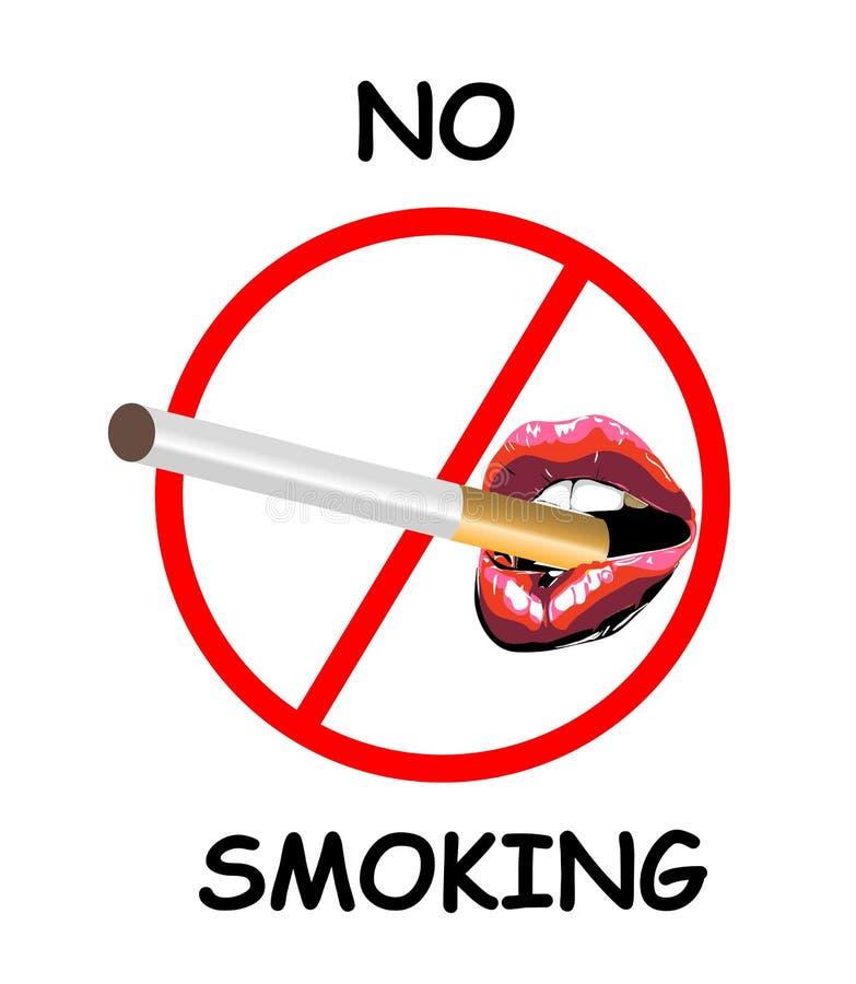 Signe non-fumeurs avec les lèvres rouges acérées sexy Rouge à lèvres abstrait dans la bouche ouverte avec la cigarette Icône d'il illustration stock