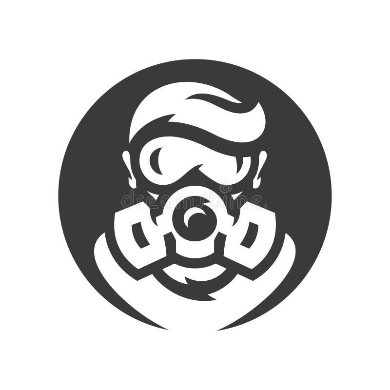 Signe nucl?aire de silhouette de vecteur de survivant de courrier-apocalypse illustration de vecteur