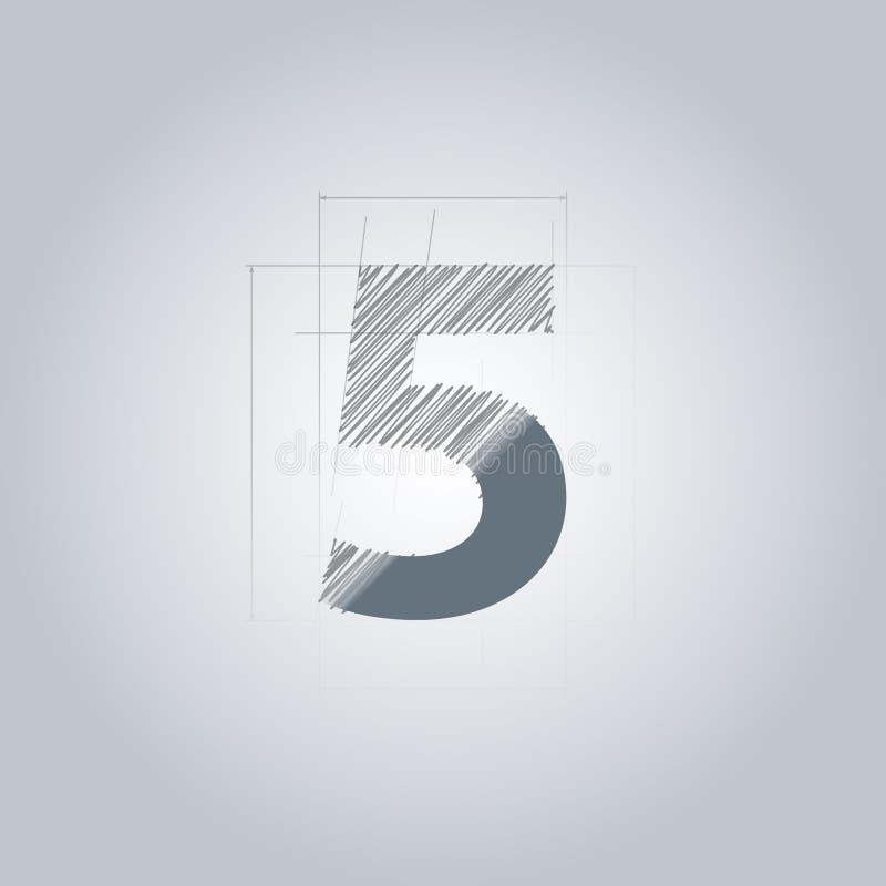 Signe numéro cinq Conception architecturale de Logotype couleur grise modèle Avec le gradient illustration stock