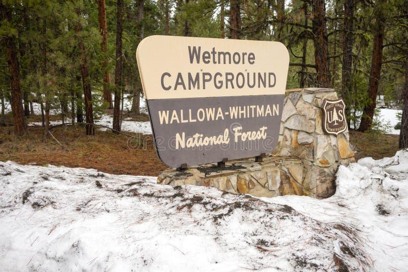 Signe Orégon U de Wallowa Whitman National Forest Wetmore Campground images libres de droits