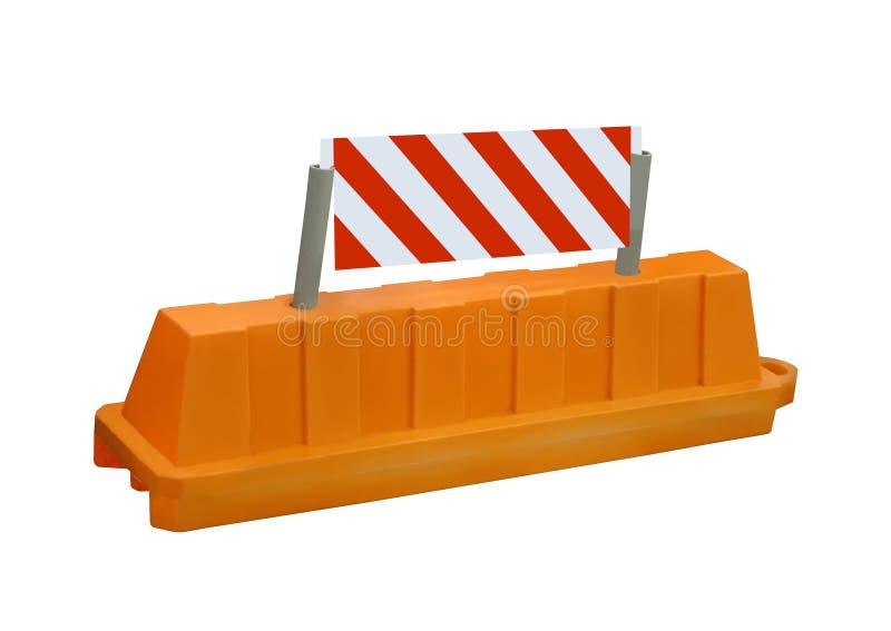 Signe orange de barrière de route de garantie d'arrêt, personne, illustration de vecteur