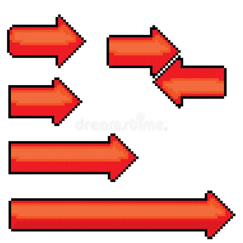 signe ou bouton rouge de fl che de style de pixel pour le web illustration de vecteur image. Black Bedroom Furniture Sets. Home Design Ideas