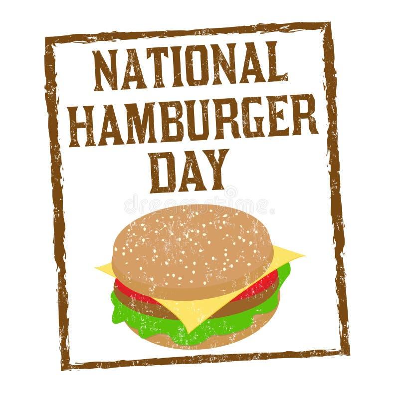 Signe ou timbre national de jour d'hamburger illustration stock