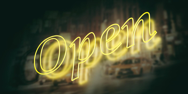 Signe ouvert, fond jaune-clair au néon d'obscurité de couleur illustration 3D illustration libre de droits