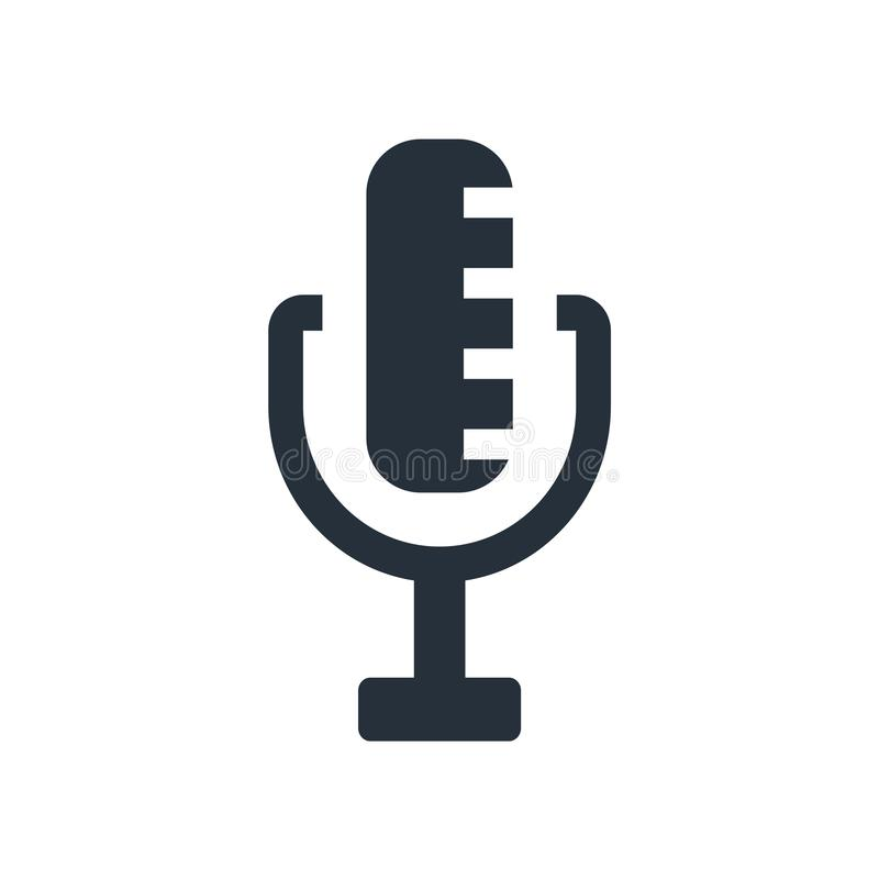 Signe par radio et symbole de vecteur d'icône de microphone d'isolement sur le fond blanc, concept par radio de logo de microphon illustration libre de droits