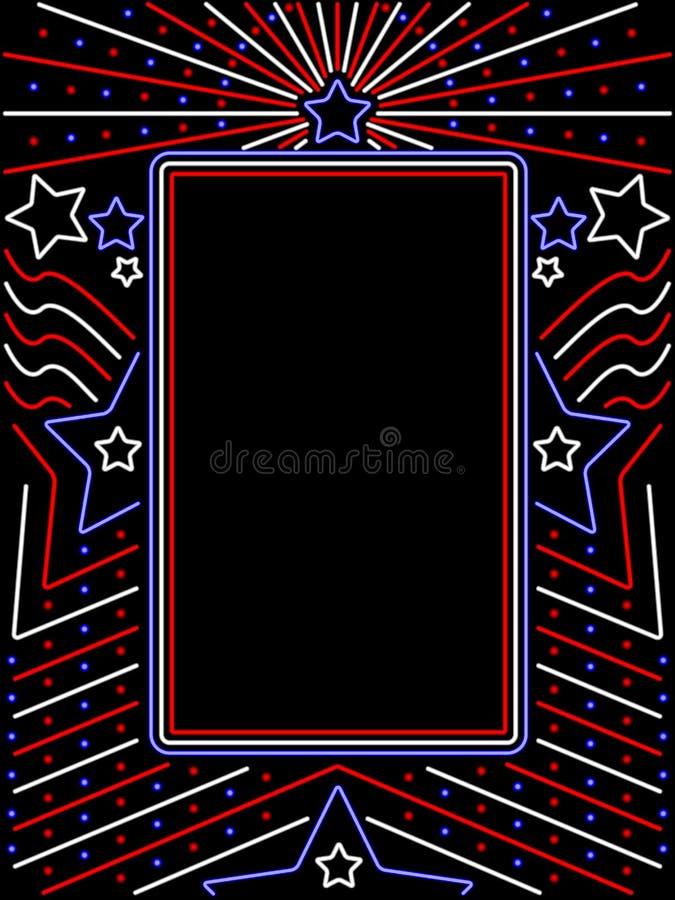 Signe patriotique au néon vertical illustration de vecteur