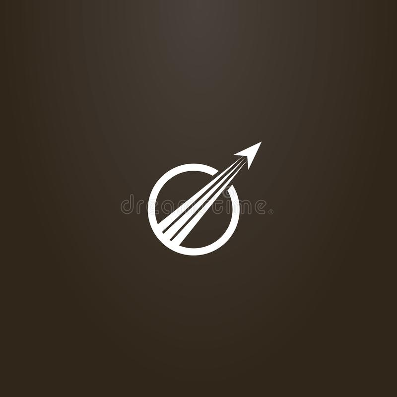 Signe plat d'art de vecteur des avions d'abrégé sur décollage dans un cadre rond illustration de vecteur