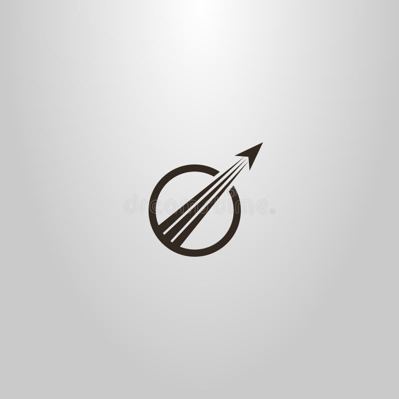 Signe plat d'art de vecteur simple des avions d'abrégé sur décollage dans un cadre rond illustration de vecteur