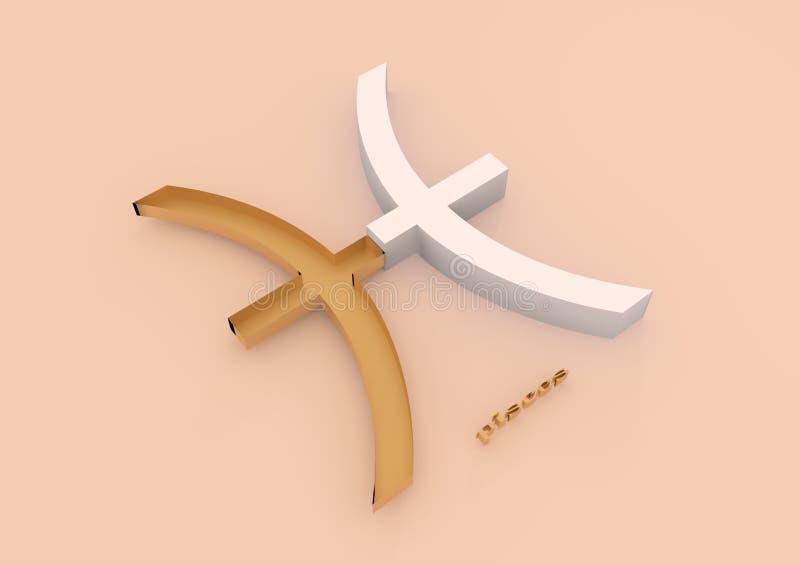 Signe Poissons de zodiaque illustration de vecteur