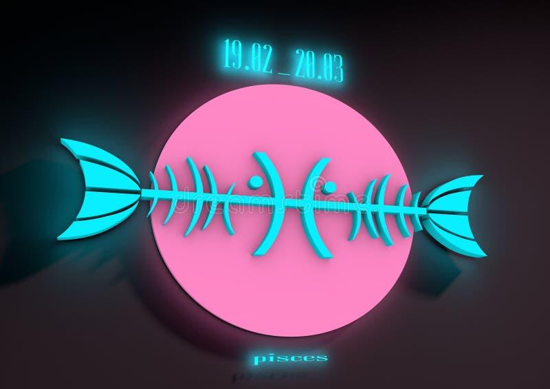 Signe Poissons de zodiaque sur un fond foncé Éclat au néon illustration libre de droits