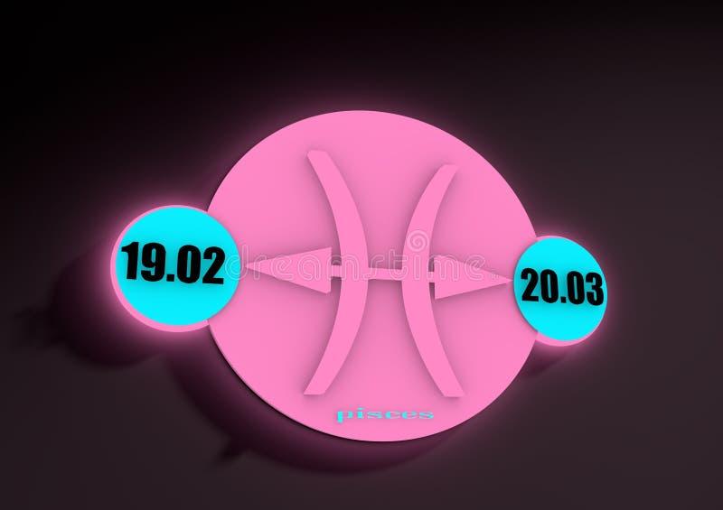Signe Poissons de zodiaque sur un fond foncé Éclat au néon illustration de vecteur