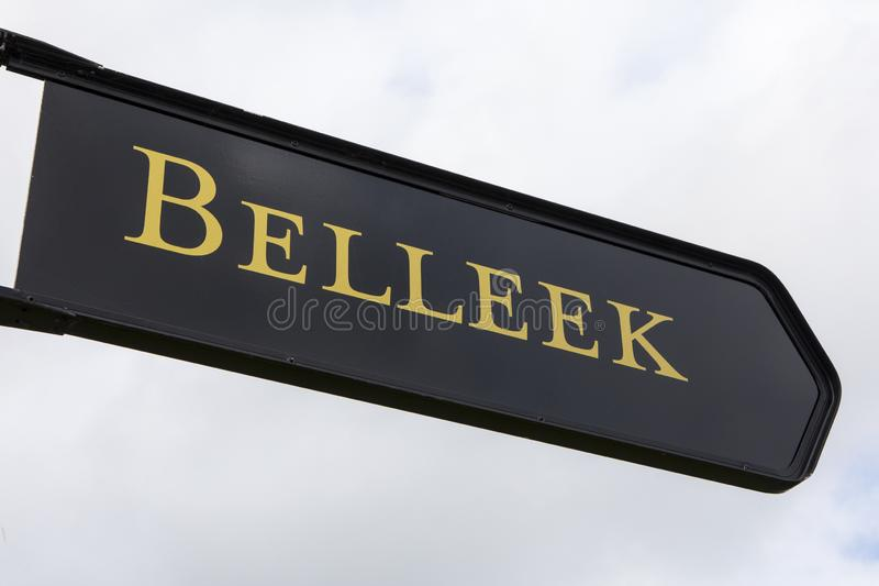 Signe pour Belleek en Irlande du Nord image stock