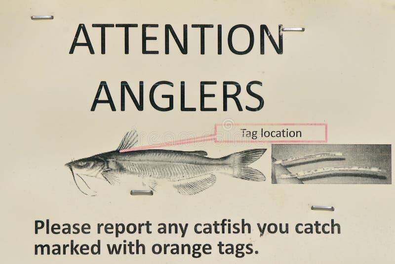 Signe pour le pêcheur de pêcheur à la ligne qui attrapent le poisson-chat photographie stock