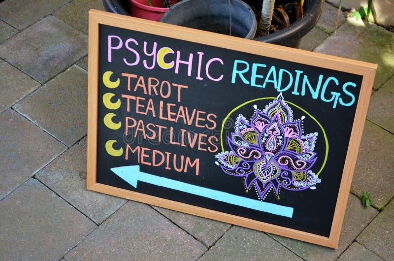 Signe pour les lectures psychiques photographie stock