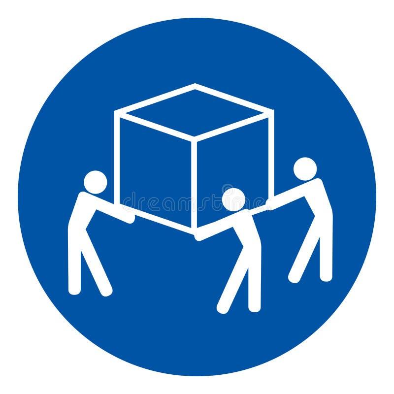 Signe pour trois personnes de symbole d'ascenseur d'utilisation, illustration de vecteur, d'isolement sur le label blanc de fond  illustration de vecteur