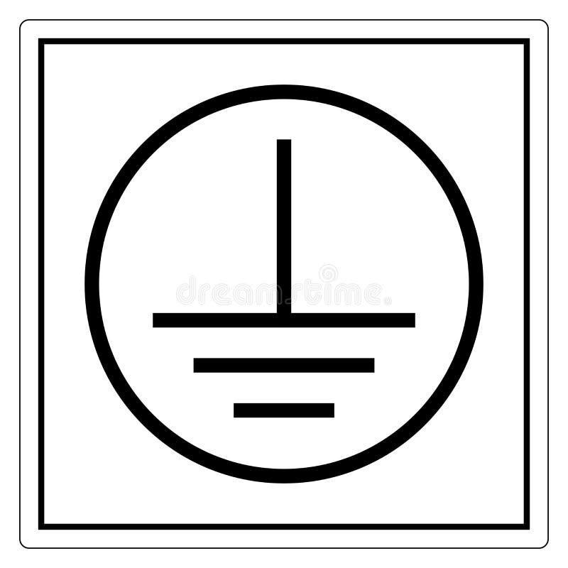 Signe protecteur de symbole d'au sol de la terre, illustration de vecteur, isolat sur le label blanc de fond EPS10 illustration libre de droits