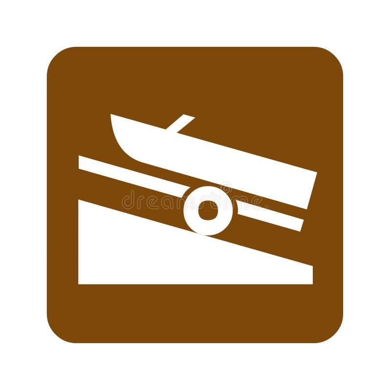 Signe récréationnel de lancement de bateau de Brown illustration libre de droits