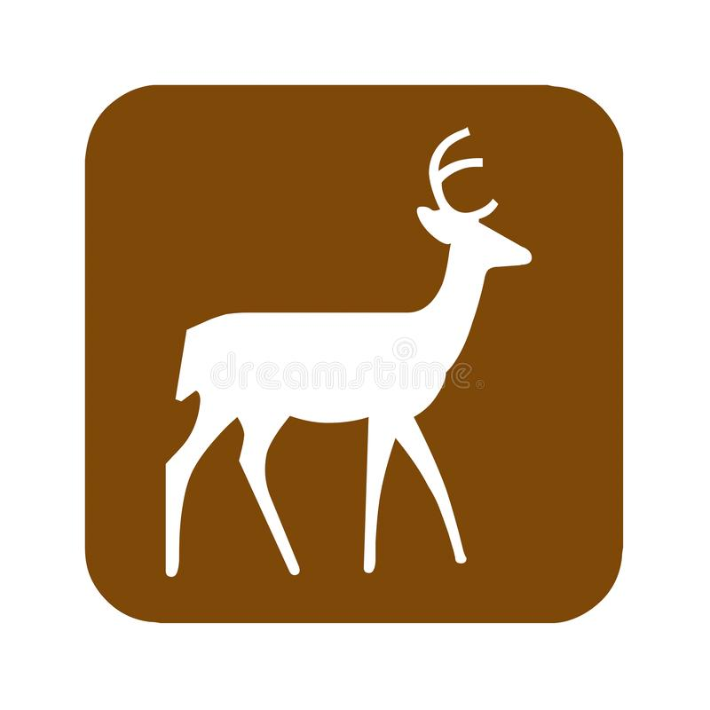 Signe récréationnel de visionnement de secteur de cerfs communs de Brown illustration de vecteur