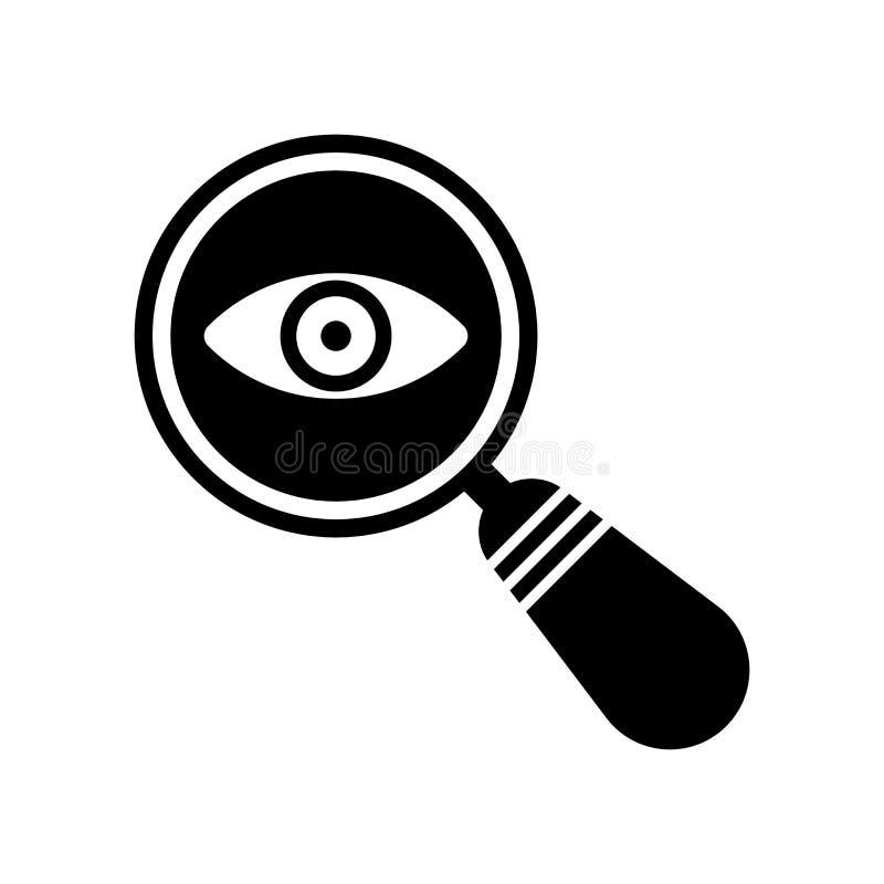 Signe révélateur et symbole de vecteur d'icône de recherche d'isolement sur b blanc illustration stock