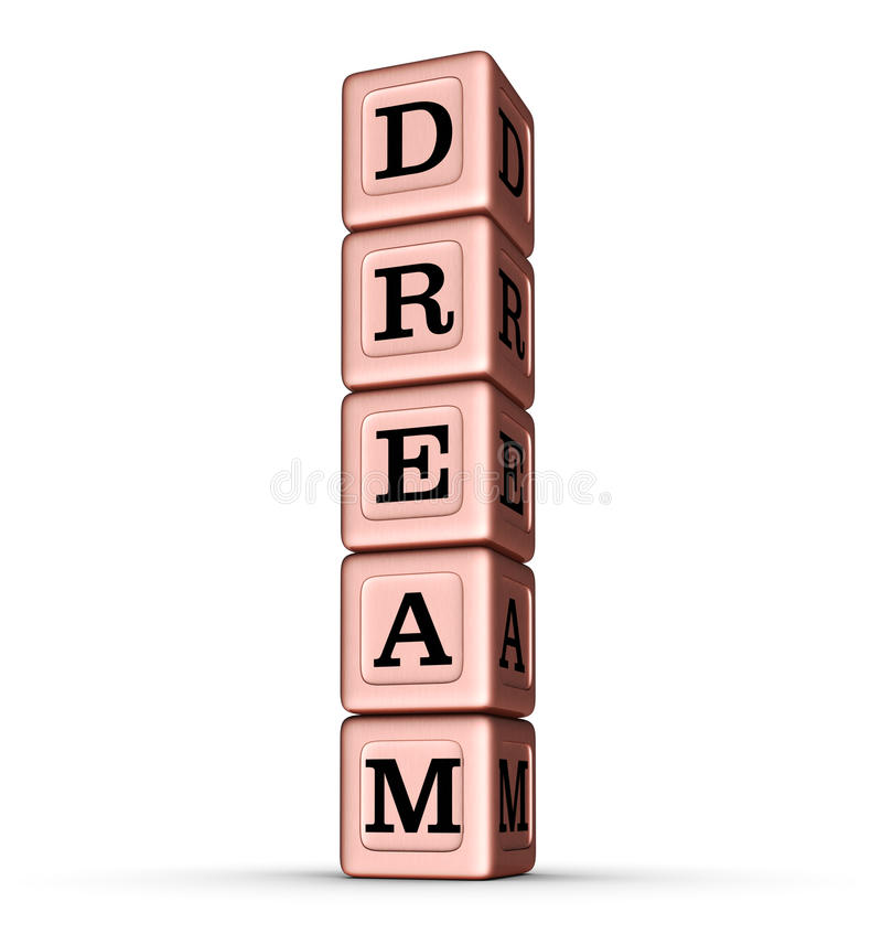 Signe rêveur de Word Pile verticale de Rose Gold Metallic Toy Blocks illustration libre de droits