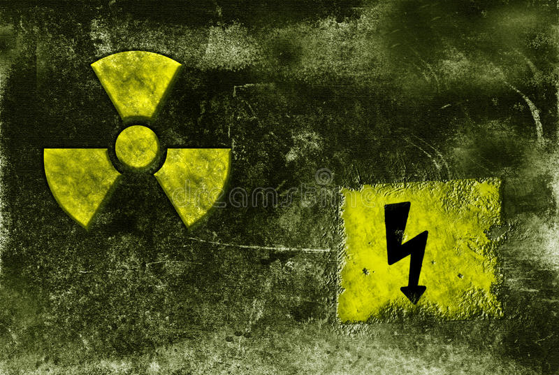 Signe radioctive diminuant photographie stock libre de droits