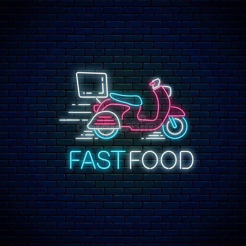 Signe rapide rougeoyant de la livraison de nourriture au néon avec livrer le scooter Symbole rapide de la livraison dans le style illustration libre de droits