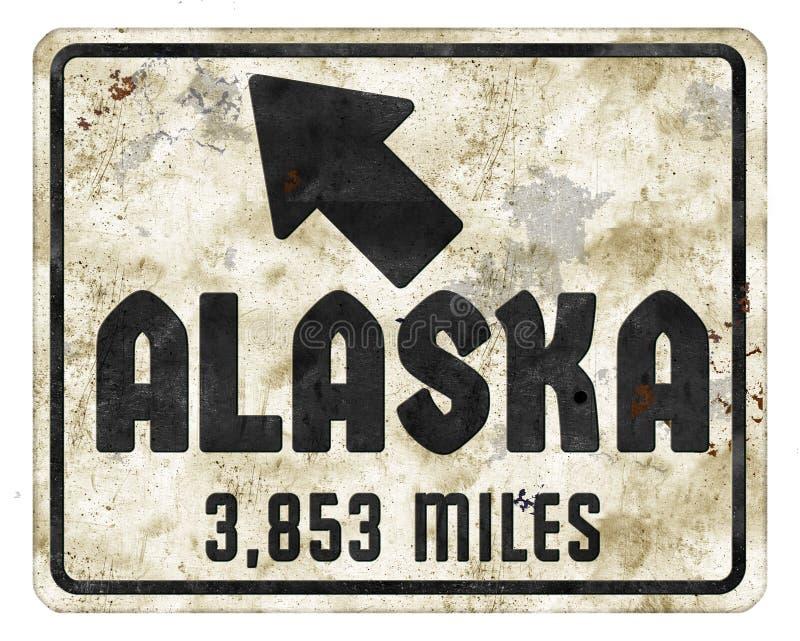 Signe Roadsign de l'Alaska avec le grunge de nord d'amusement de milles illustration de vecteur