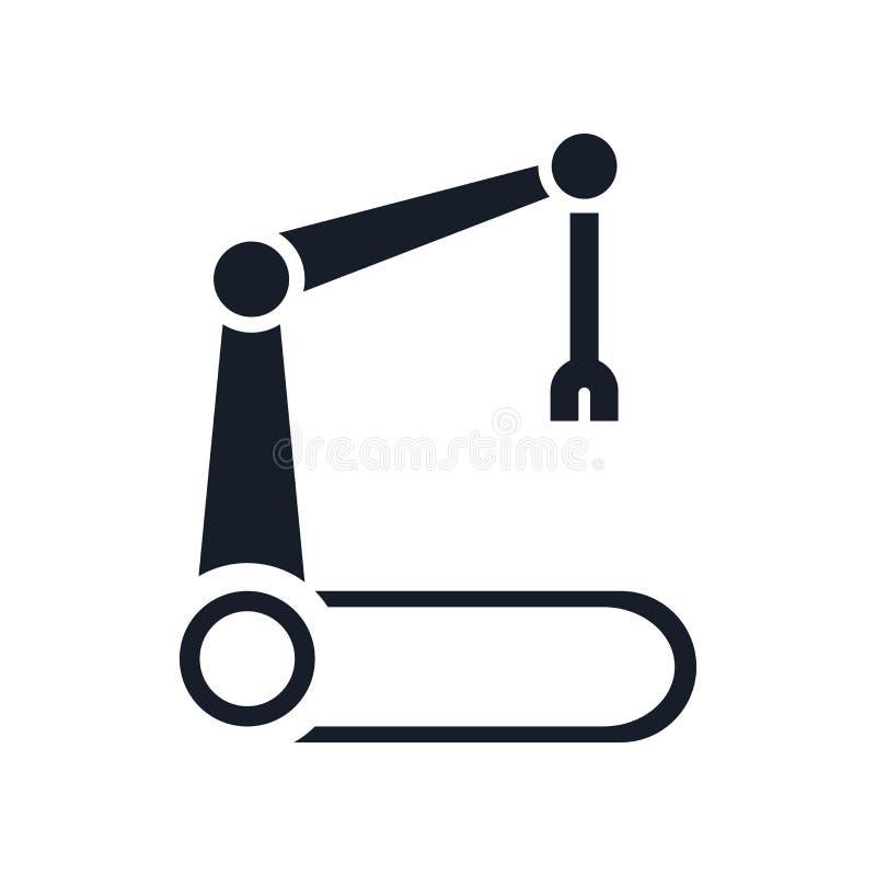 Signe robotique et symbole de vecteur d'icône de bras d'isolement sur le fond blanc, concept robotique de logo de bras illustration de vecteur