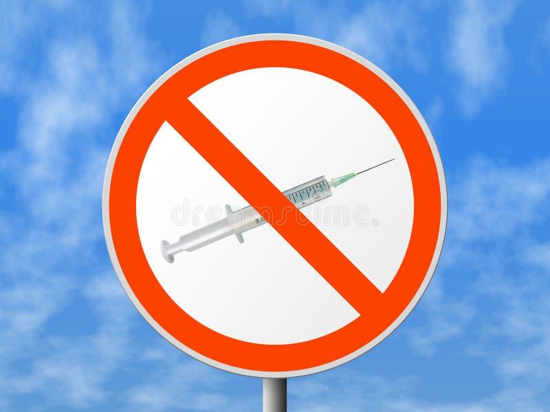 Signe rond aucunes drogues image stock