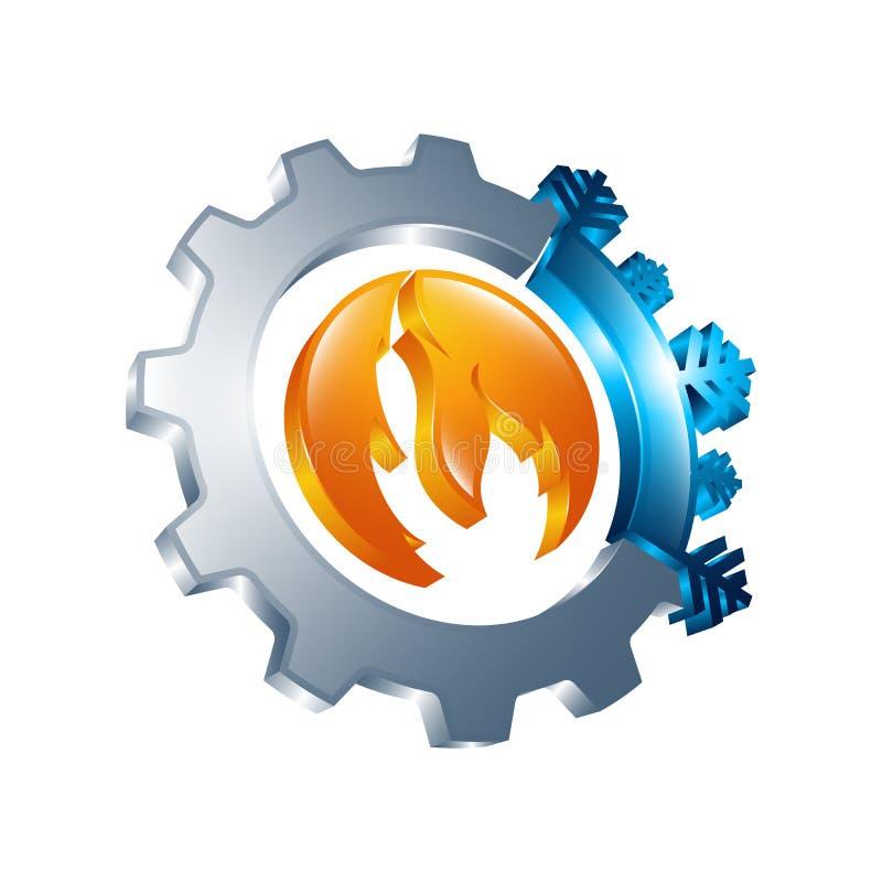 signe rond chaud et froid de 3D Icône d'équilibre de la température Sun et Sn illustration de vecteur