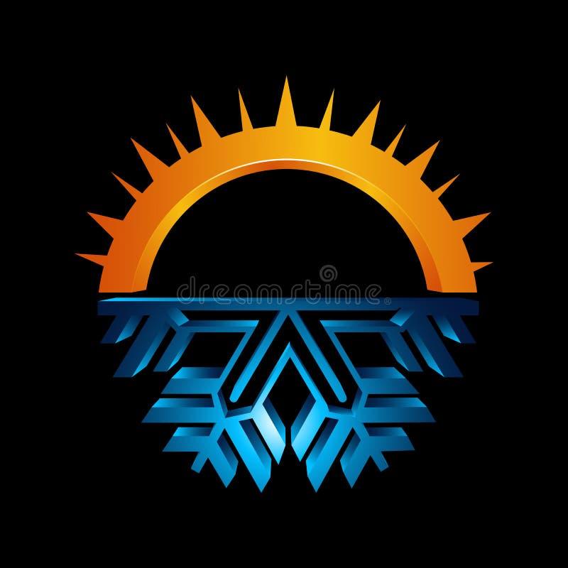 Signe rond chaud et froid Icône d'équilibre de la température Sun et snowf illustration stock