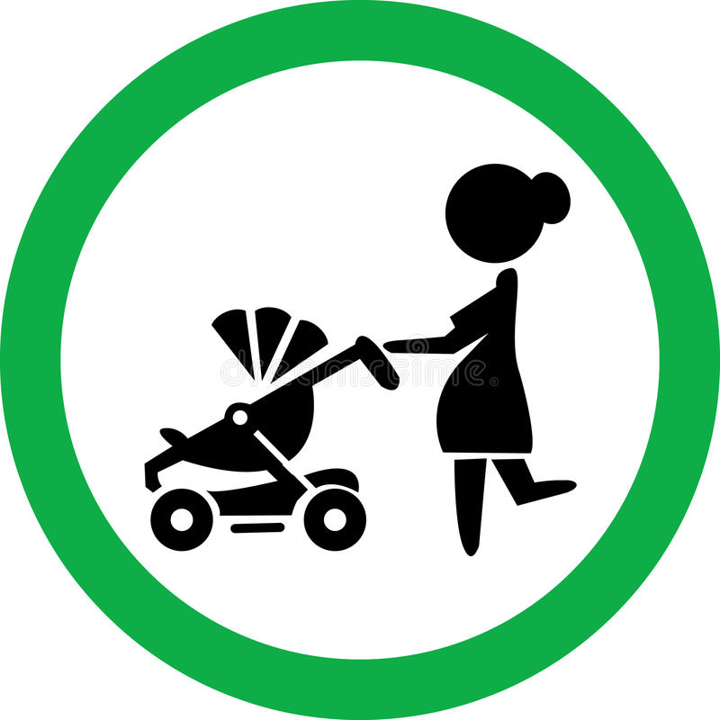 Signe rond de vecteur dépeignant une femme avec un strolle illustration stock