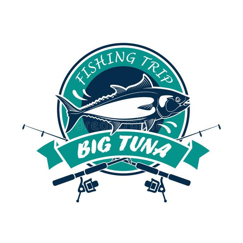 Signe rond de vecteur de club de sport de voyage de pêche illustration de vecteur