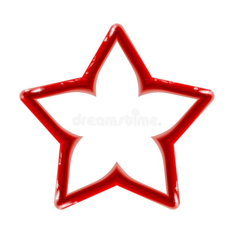 Signe rouge brillant d'isolement réaliste d'icône d'étoile pour le décor sur le fond clair Cadre en plastique de jouet lumineux C illustration libre de droits