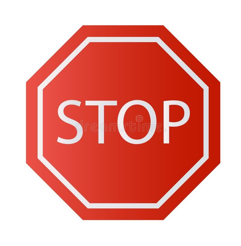 Signe rouge d'arrêt d'isolement sur le fond blanc Symbole de réglementation d'arrêt d'avertissement du trafic illustration stock