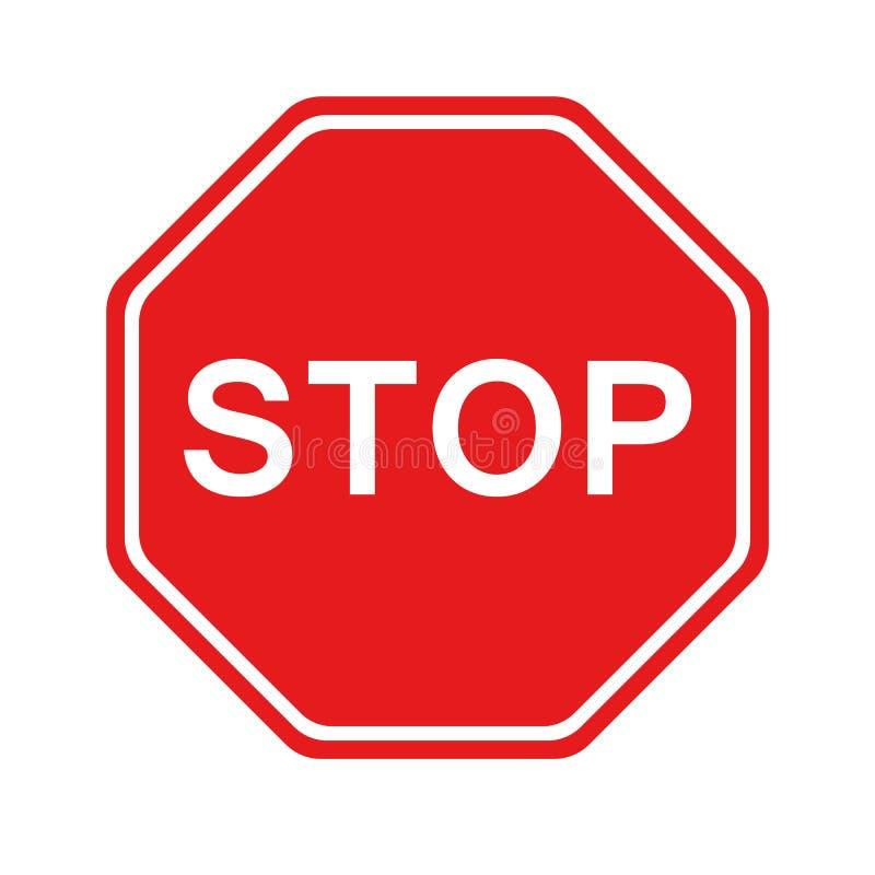 Signe rouge d'arr?t d'isolement sur le fond blanc Symbole de r?glementation d'arr?t d'avertissement du trafic Dirigez l'illustrat illustration libre de droits