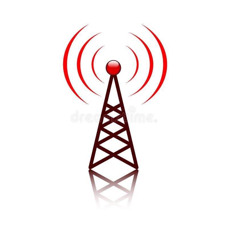 Signe rouge de mât d'antenne illustration de vecteur