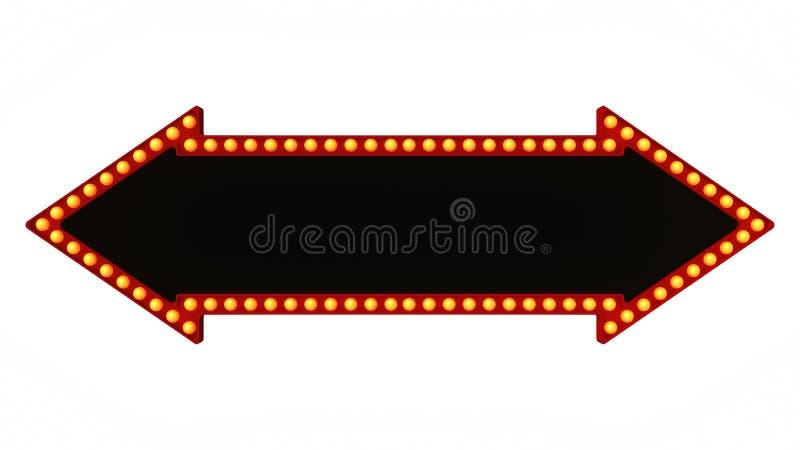 Signe rouge de panneau de lumière de chapiteau de flèche rétro sur le fond blanc rendu 3d illustration de vecteur