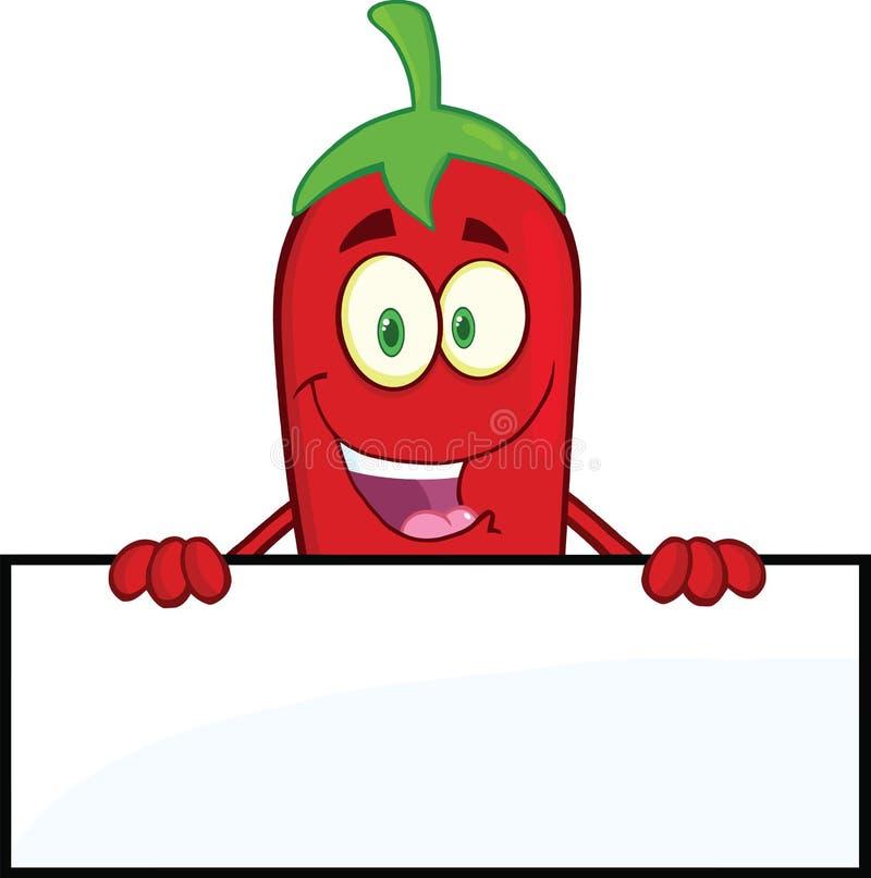 Signe rouge de sourire de blanc de Chili Pepper Cartoon Character Over illustration de vecteur
