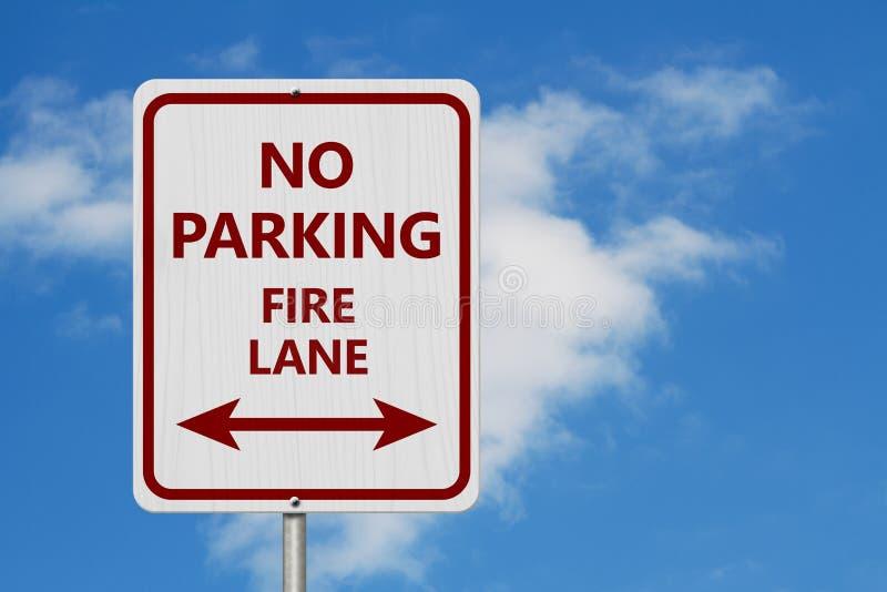 Signe rouge et blanc de ruelle de feu de stationnement interdit images libres de droits