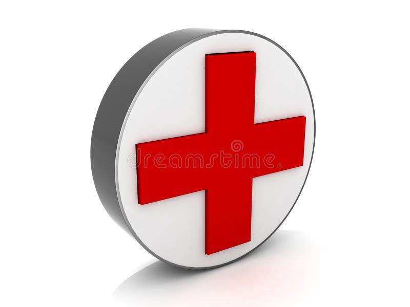 signe rouge médical en travers illustration stock