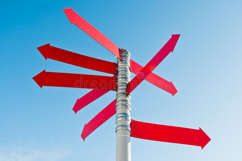 Signe rouge orientable photo libre de droits