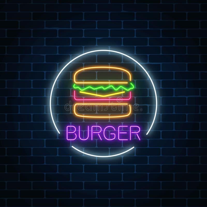 Signe rougeoyant au néon d'hamburger dans le cadre de cercle sur un fond foncé de mur de briques Symbole léger de panneau d'affic illustration libre de droits