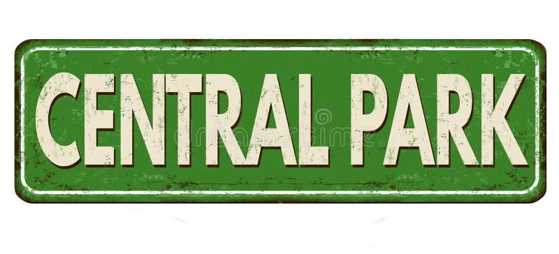 Signe rouillé en métal de cru de Central Park illustration stock