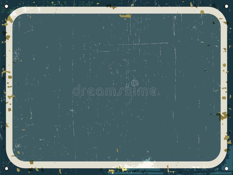 Signe rouillé en métal de cru - fond vide de rétro bidon avec la texture grunge illustration stock