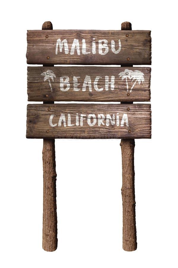 Signe rustique de conseil en bois de la Californie de plage de Malibu d'isolement sur le fond blanc images stock