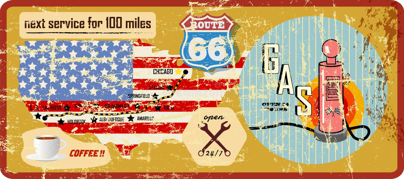 Signe sale de station service de l'itinéraire 66 et carte de route illustration stock